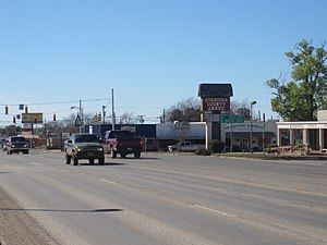 Texas State Highway 97 - Texas Highway 97 in Jourdanton, the seat of Atascosa County, with the county annex building on the right