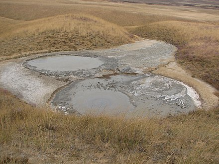 A mud volcano near the delta of Kuban