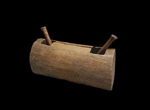 Yaka people - A carved Yaka Tambour (drum).