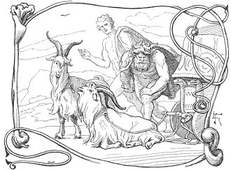 Tanngrisnir and Tanngnjóstr - Thor notices that one of his goats has a lame leg in an illustration (1895) by Lorenz Frølich