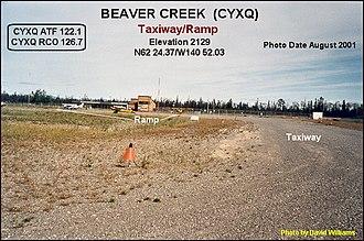 Beaver Creek Airport - Image: Taxiway, Beaver Creek airport, Yukon