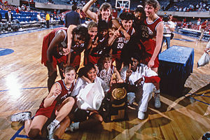 1992 NCAA Division I Women's Basketball Tournament - Stanford Cardinal team with National Championship Trophy