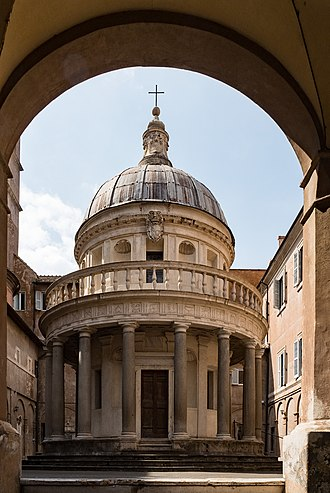 Tempietto di San Pietro in Montorio, Rome, 1502, by Bramante. This small temple marks the place where St Peter was put to death Tempietto, Haupteingang.jpg