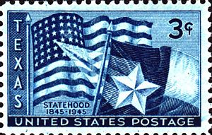 Republic of Texas - Texas statehood100th anniversary issue of 1945