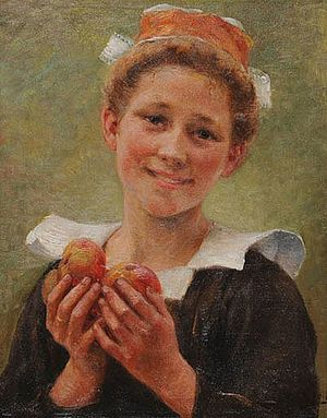 Young Breton Woman with Apples (date unknown) Theophile Deyrolle - Jeune bretonne.jpg