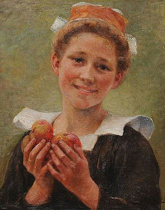 Théophile Deyrolle - Young Breton Woman with Apples (date unknown)