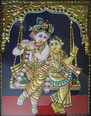 Thanjavur painting - A Thanjavur painting of Krishna and Rukmani