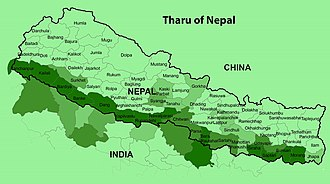 Map showing area inhabited by Tharu people in dark green Tharu Area.jpg