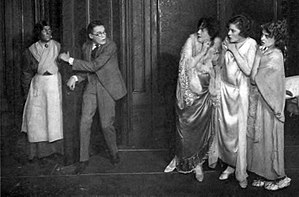The Cat and the Canary (play) - The Cat and the Canary cast from left: Blanche Friderici, Henry Hull, Beth Franklyn, Jane Warrington and Florence Eldridge