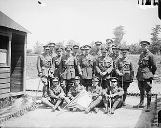 36th (Ulster) Division - Officers of the 11th (Service) Battalion, Royal Inniskilling Fusiliers (109th Brigade, 36th Division) after the capture of Wytschaete, 12 June 1917.