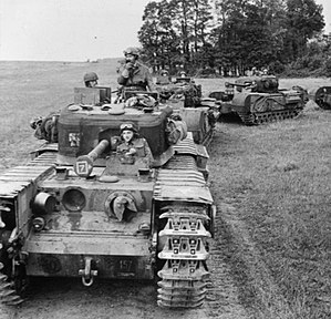 34th Armoured Brigade (United Kingdom) - Churchill tanks of 7 Troop, 'B' Squadron, 107 RAC, 34th Tank Brigade, 17 July 1944.