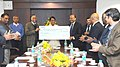 The Chairman, Airports Authority of India, Shri V.P. Agrawal presenting a dividend cheque of Rs. 147 crore to the Union Minister for Civil Aviation, Shri Ajit Singh, in New Delhi. The Secretary, Ministry of Civil Aviation.jpg