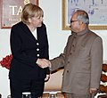The Chancellor of Germany, Ms. Angela Merkel meeting with the Union Minister of External Affairs, Shri Pranab Mukherjee, in New Delhi on October 30, 2007.jpg
