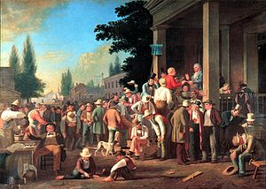 Elections in the United States - An 1846 painting by George Caleb Bingham showing a polling judge administering an oath to a voter