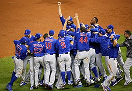 The Cubs celebrate after winning the 2016 World Series. (30630041432).jpg