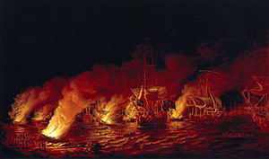 Battle of the Plains of Abraham - French fire ships sent downriver to block the British advance by Dominic Serres