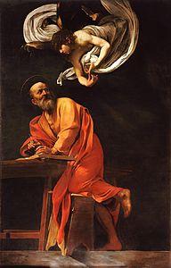 Tableau montrant un ange descendant vers un vieil homme à moitié debout qui écrit.