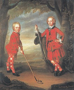 The MacDonald boys playing golf, attributed to William Mosman. 18th century, National Galleries of Scotland. The MacDonald boys playing golf.jpg