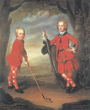 Golf in Scotland - The MacDonald boys playing golf by the 18thC portrait painter Jeremiah Davison