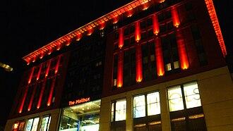 BBC Birmingham - The Mailbox at night, current home to BBC Birmingham