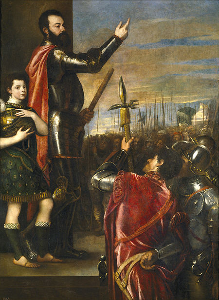 Alfonso d'Avalos addressing his troops in 1537 (Tiziano oil painting, c. 1540, Prado Museum, Madrid). The Marquis of Vasto addressing his troops.jpg