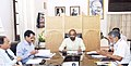 The Minister of State for Home Affairs, Shri Hansraj Gangaram Ahir chairing a review meeting with the senior officials on mobile connectivity issues in LWE areas, in New Delhi on April 25, 2018.JPG