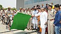 The Minister of State for Home Affairs, Shri Hansraj Gangaram Ahir flagging off the Bicycle Patrols by Delhi Police, in Delhi on May 30, 2017. The Delhi Commissioner of Police, Shri Amulya Patnaik is also seen.jpg