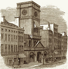 1868 drawing of a street scene in front of the altered but recognizable exterior of the 1839 church