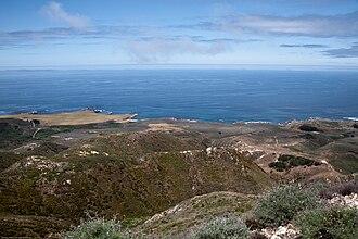 Rancho Cañada de los Osos y Pecho y Islay - The Pacific Ocean coastline  from Valencia Peak, in present-day Montaña de Oro State Park. All of the land in this photo was part of the old Rancho Pecho y Islay.