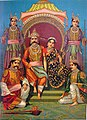 The Pandavas and Draupadi, from the Ravi Varma Press, c.1910.jpg