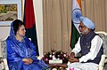 The Prime Minister Dr. Manmohan Singh meeting with the Prime Minister of Bangladesh, Mrs. Begum Khaleda Zia on the sidelines of the 13th SAARC Summit, in Dhaka on November 12, 2005.jpg
