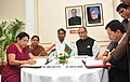 The Secretary, Ministry of Textiles, Ms.Zohra Chatterjee and the Sr. Secretary, Textiles, Bangladesh, Mr. Ashraful Moqbul signing an MoU for cooperation in Textile sector, in the presence of the Union Minister for Textiles.jpg