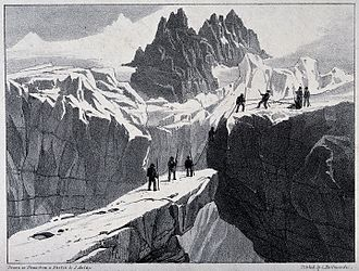 John Auldjo - The ascent of Mont Blanc by John Auldjo's party in 1827, lithograph