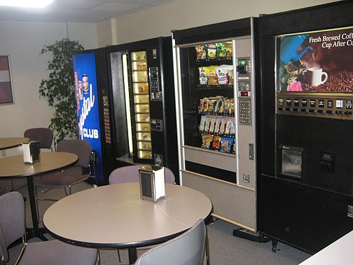 A company breakroom, with vending machines