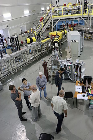 Group of Kazakhstan physicists in collaboration with Uzbek researchers working at the ion accelerator DC-60 The irradiation experiments at the ion accelerator DC-60. Astana, Kazakhstan.JPG