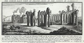 The north east view of Neath-Abby, in the county of Glamorgan
