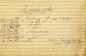 Symphony No. 9 (Dvořák) - Title page of the autograph score of Dvořák's ninth symphony