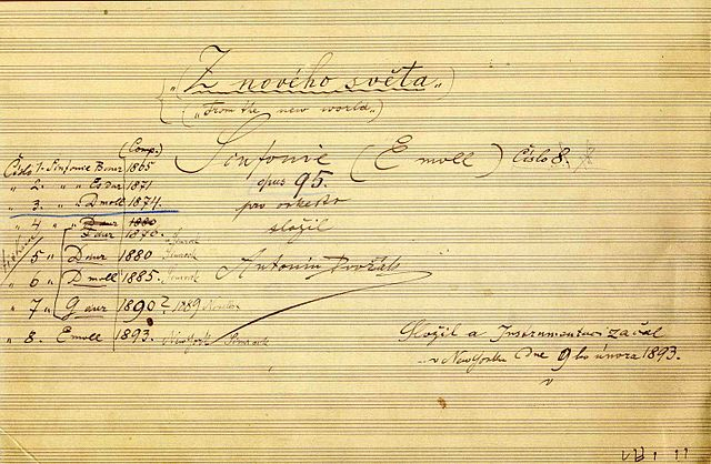 Титульный лист автографа девятой симфонии. Рукою Дворжака указаны порядок и годы сочинения всех симфоний, кроме первой, которую он считал утерянной. Рядом с уже изданными пятью указаны фамилии издателей— Зимрок и Новелло.