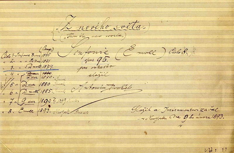 File:The title page of the autograph score of Dvořák's ninth symphony.jpg