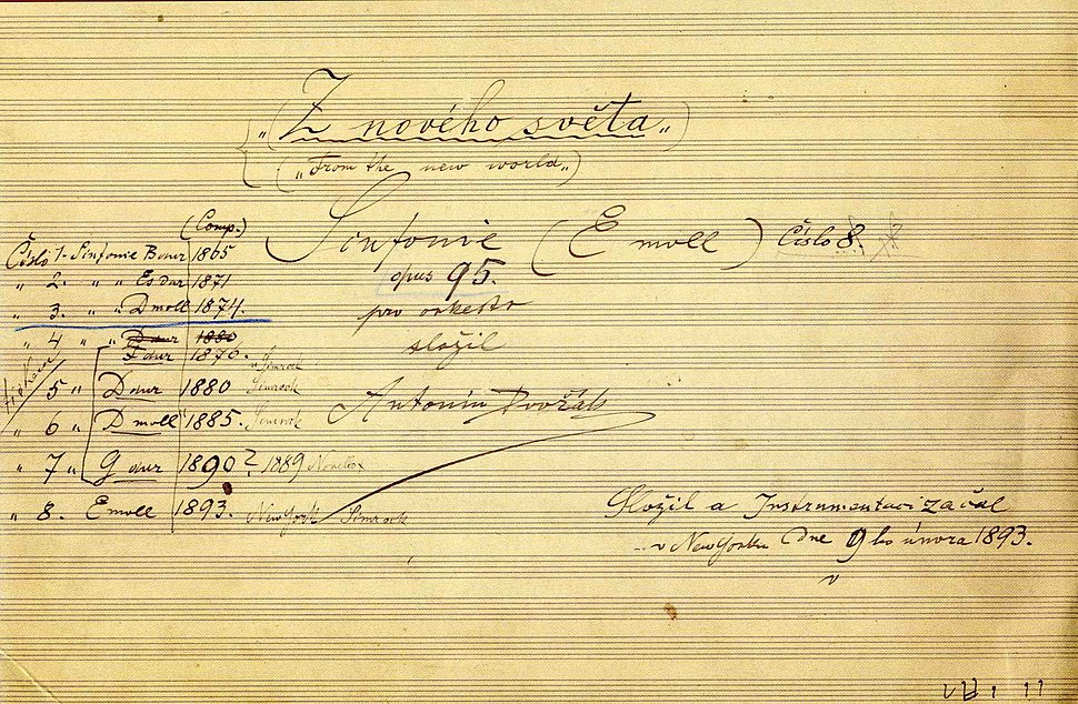 The title page of the autograph score of Dvo%C5%99%C3%A1k%27s ninth symphony