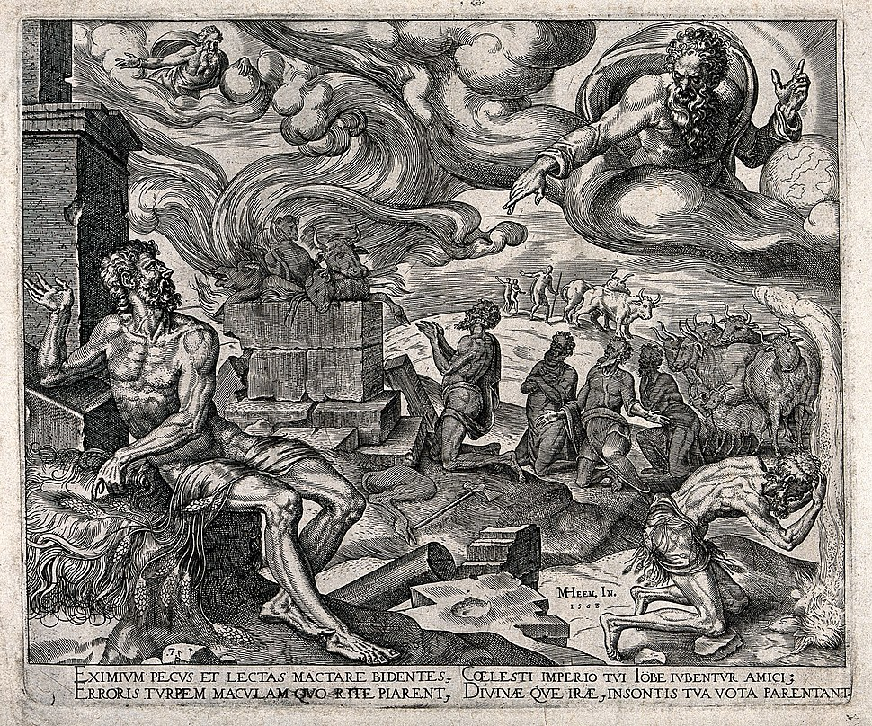 The torments of Job under a swirling sky dominated by God. E Wellcome V0034340
