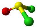 Ball-and-stick model of thionyl chloride