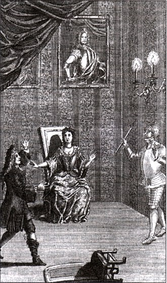 Shakespeare in performance - Restoration actor Thomas Betterton  as Hamlet, confronted by his father's ghost (with both Hamlet and Gertrude in contemporary dress) (1709)