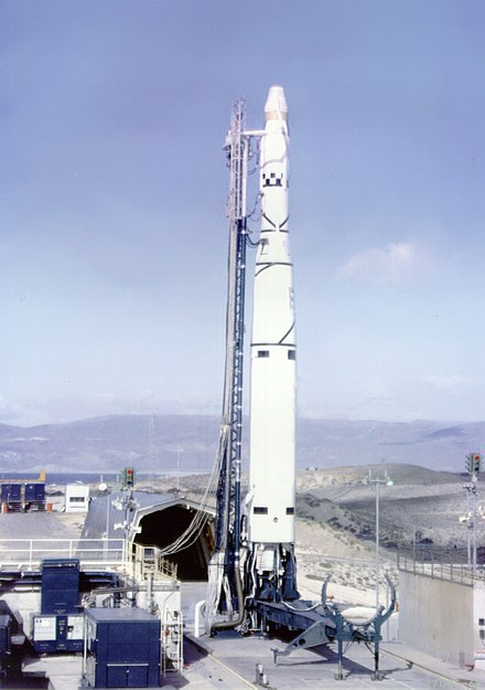 A Thor Agena, ready to launch the Discoverer 37 (KH-3) spacecraft, 13 January 1962 Thor Agena B with Discoverer 37 on launch pad (Jan. 13 1962).jpg