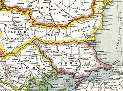 Thracia Outcut from Roman provinces of Illyricum, Macedonia, Dacia, Moesia, Pannonia and Thracia.jpg