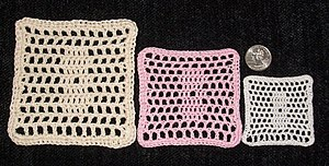 Crochet thread - A demonstration of crochet thread weight: sample filet crochet pattern repeated in different threads.  From left to right: size 3, size 10, and size 20.  A U.S. quarter is included for perspective.