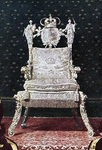 Monarchy of Sweden - The Silver Throne, used by all Swedish monarchs from Queen Christina in 1650 onward