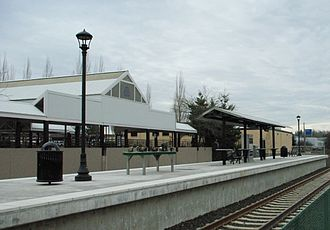 Tigard, Oregon - Tigard Transit Center station in downtown on the Westside Express Service (WES)