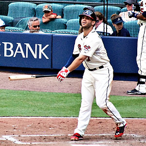 Tommy La Stella - La Stella batting for the Atlanta Braves in 2014