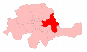 Tower Hamlets (UK Parliament constituency) - Tower Hamlets in the Metropolitan area, showing boundaries used from 1868 to 1885.